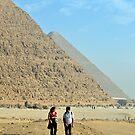 Tourists Outside Pyramids of Khufu and Khafre, Giza  by Petr Svarc