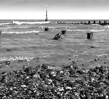 Cromer Beach Norfolk in monochrome by johnny2sheds