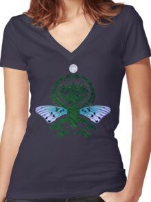 Haunted Solstice Moon Winged Thing Women's Fitted V-Neck T-Shirt