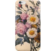 vintage botanical art, beautiful yellow daisy and pink rose flowers. iPhone Case/Skin