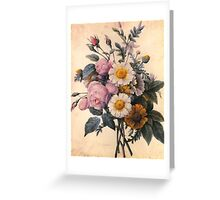 vintage botanical art, beautiful yellow daisy and pink rose flowers. Greeting Card