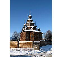 Wooden church, winter Photographic Print