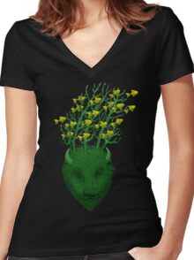 Sea Buffalo Dreaming Green Heart  Women's Fitted V-Neck T-Shirt