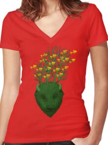 Sea Buffalo Dreaming Green Heart  Women's Fitted V-Neck T-Shirt