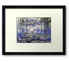 Claude Monet, Waterlily oil on canvas.  Beautiful vintage purple waterlily and big green leaves flowering pond Framed Print