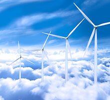 Wind turbines over Copenhagen blue sky, Denmark by Atanas Bozhikov NASKO