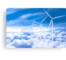 Wind turbines over Copenhagen blue sky, Denmark Canvas Print