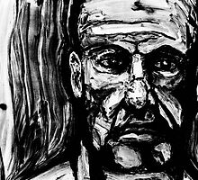 Man's Face - Lithograph by peabody00