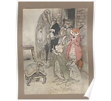 Aesop's Fables art by Arthur Rackham 1913 0009 Tortise and Hare Poster