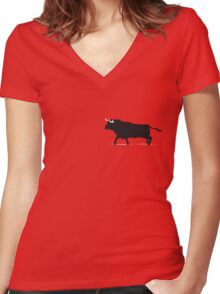 black bull Women's Fitted V-Neck T-Shirt