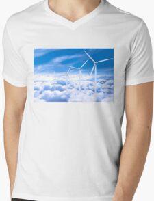 Wind turbines over Copenhagen blue sky, Denmark Mens V-Neck T-Shirt