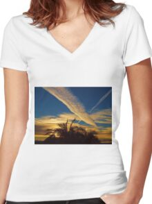 Jet Trails Women's Fitted V-Neck T-Shirt