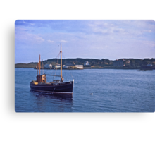 Fishing boat returning to Killybegs Harbour, Donegal, Ireland, circa 1959 Canvas Print
