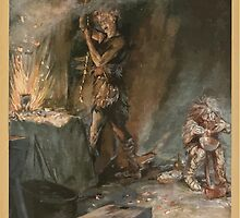 Siegfried & The Twilight of the Gods by Richard Wagner art Arthur Rackham 1911 0079 The Forging of Nothung by wetdryvac