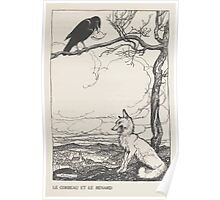Aesop's Fables art by Arthur Rackham 1913 0026 The Fox and the Crow Poster