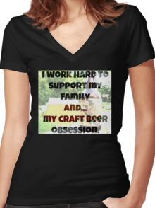 Craft beer obsession Women's Fitted V-Neck T-Shirt