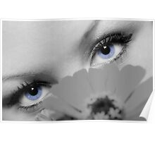 Woman with Beautiful Blue Eyes Poster