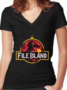 File Island Women's Fitted V-Neck T-Shirt