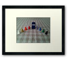 TARDIS and rainbow Daleks Framed Print