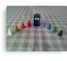 TARDIS and rainbow Daleks Metal Print