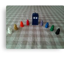 TARDIS and rainbow Daleks Canvas Print