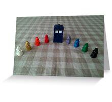 TARDIS and rainbow Daleks Greeting Card
