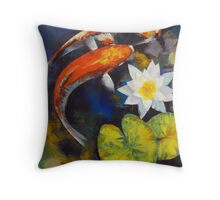 Koi Fish and Water Lily Throw Pillow