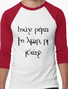 """They're Taking The Hobbits To Isengard"" Elvish Tengwar Script Design Men's Baseball ¾ T-Shirt"