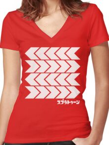 Splatoon Takoroka Red Vector Tee Women's Fitted V-Neck T-Shirt