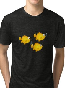 Happy Cartoon Goldfish Tri-blend T-Shirt