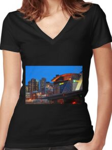 Home Of The Celtics And Bruins Women's Fitted V-Neck T-Shirt