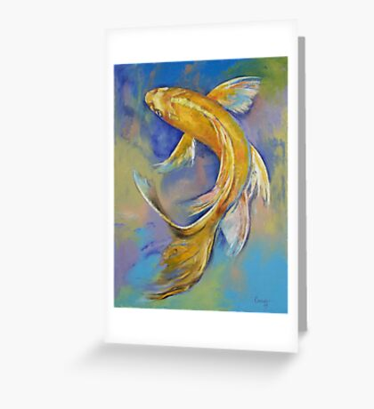 Orenji Butterfly Koi Greeting Card