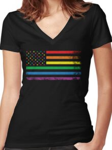 Rainbow American Flag Women's Fitted V-Neck T-Shirt
