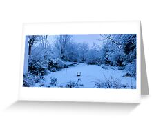 Snowy Blanket over my Back Garden: Pano 5 Stitch  Greeting Card