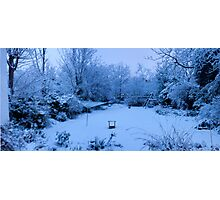 Snowy Blanket over my Back Garden: Pano 5 Stitch  Photographic Print