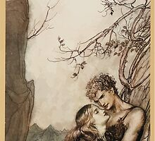 Siegfried & The Twilight of the Gods by Richard Wagner art Arthur Rackham 1911 0167 Brunnhilde Throws Herself Into Siegfried's Arms by wetdryvac