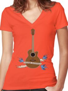Acoustic, Naturally Women's Fitted V-Neck T-Shirt