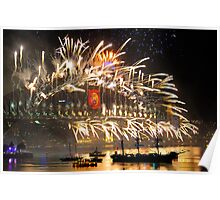 Sydney New Year Eve 2009 Fireworks - Smoke on the water & fire in the sky Poster