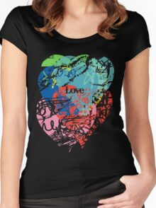 Love hearts  dark Women's Fitted Scoop T-Shirt