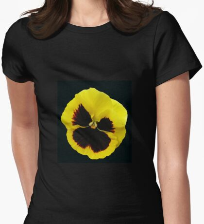Glowing Yellow Pansy on Black Background Womens Fitted T-Shirt