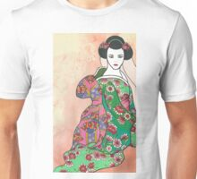 Sitting Geisha with Textured Background Unisex T-Shirt
