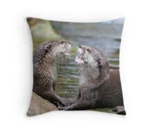 hungry otters Throw Pillow