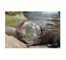 hungry otters Art Print