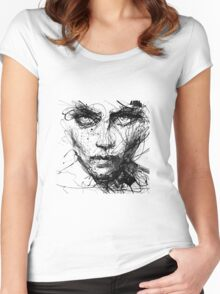 Face Abstract Cool Women's Fitted Scoop T-Shirt