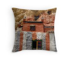 Cave Temple, Upper Mustang, Nepal Throw Pillow