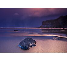Passing snowstorm at Saltburn Photographic Print