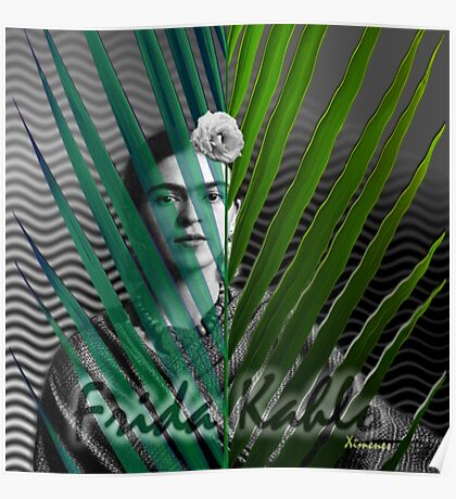 At the Beach with Frida Kahlo (Ver 2) Poster