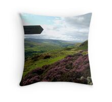 fremington edge signpost in swaledale Throw Pillow