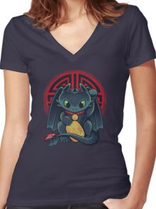 Maneki Dragon Women's Fitted V-Neck T-Shirt