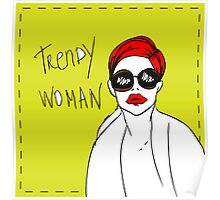 Trendy woman card, fake paper fashion invitation, vector illustration Poster